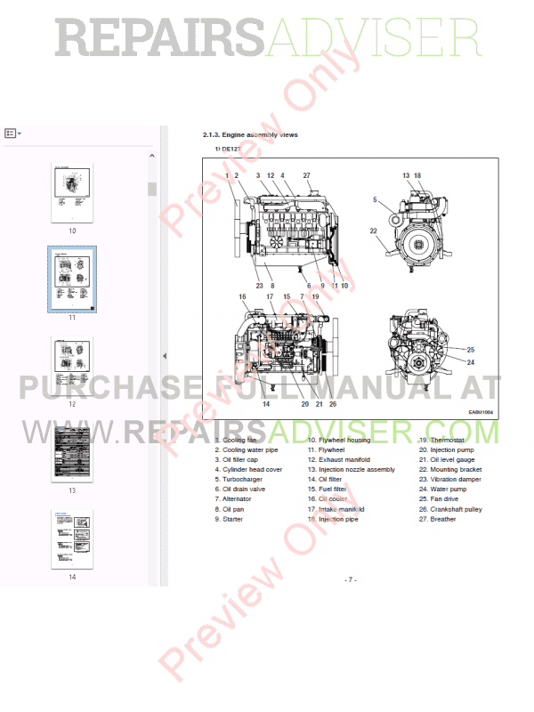 Daewoo Doosan DE12T Generator sel Engine Maintenance Manual on