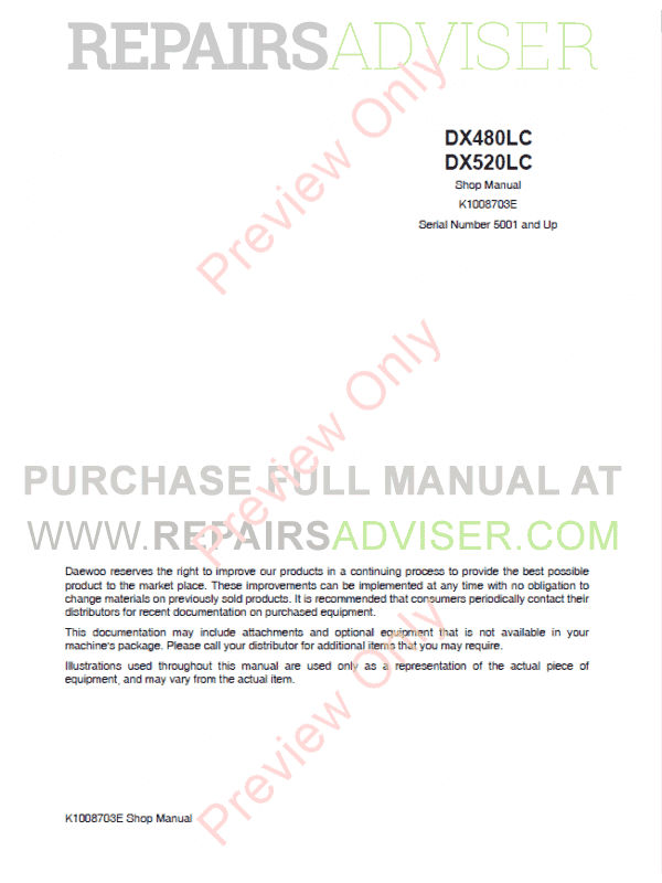 Daewoo Doosan DX480LC, DX520LC Track Excavator Set of PDF Manuals