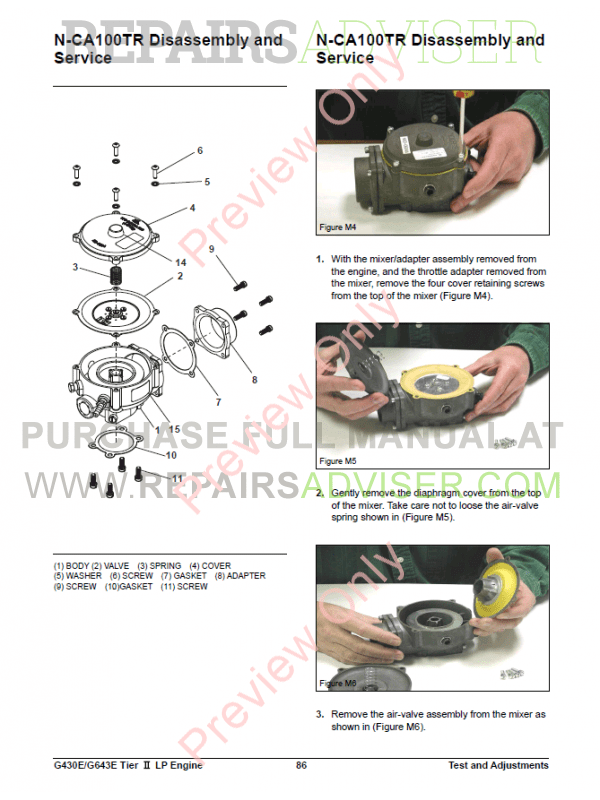 Daewoo G430E/G643E LPG Engine Lift Trucks Service Manual of PDF, Manuals for Heavy Equip. by www.repairsadviser.com