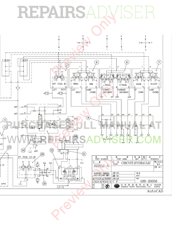 Daewoo S225LCV Hydraulic Excavator Schemes Set of PDF, Manuals for Heavy Equip. by www.repairsadviser.com