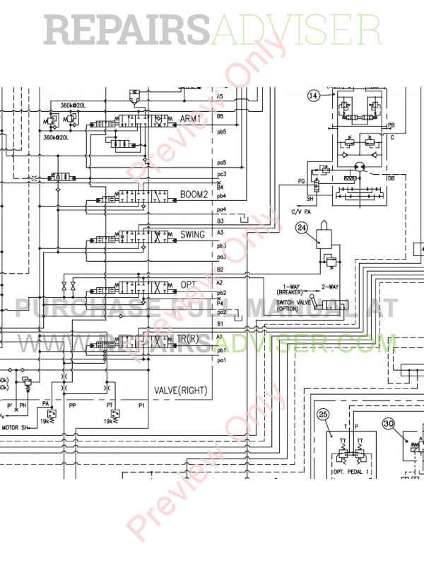 Daewoo S250 S255 Lcv Crawler Excavators Schemes Set Of Pdf