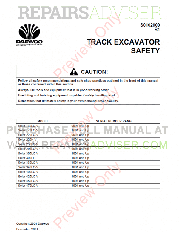 Daewoo Solar 300LC-V Track Excavator Set of PDF Manuals, Manuals for Heavy Equip. by www.repairsadviser.com