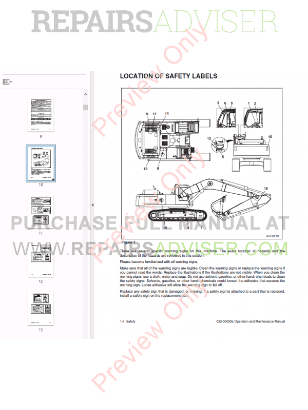 Daewoo Solar 340LC-V Track Excavator Shop Manual PDF, Manuals for Heavy Equip. by www.repairsadviser.com