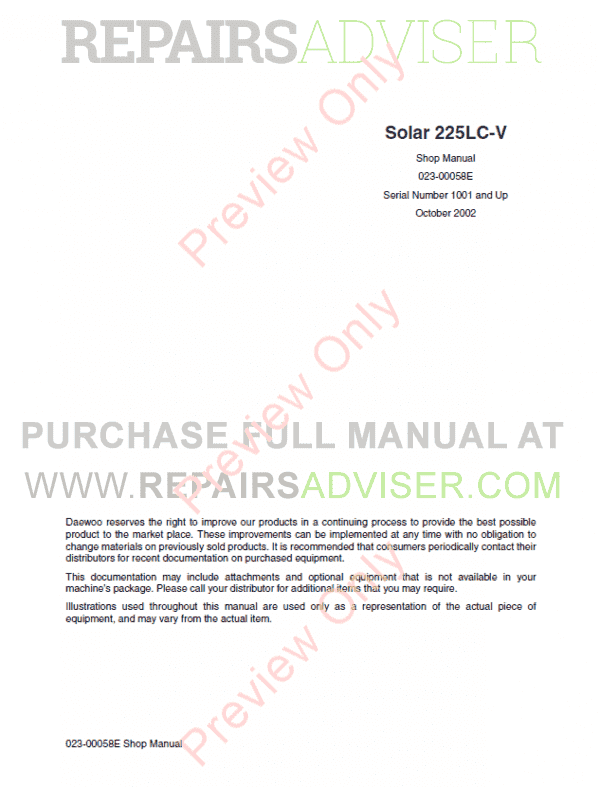 Daewoo Track Excavator Solar 225LC-V Set of PDF Manuals, Manuals for Heavy Equip. by www.repairsadviser.com