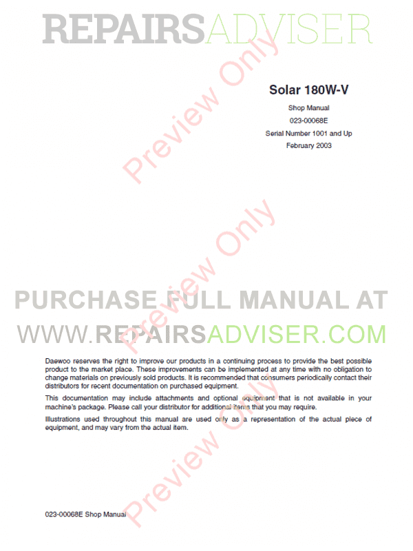 Daewoo Wheel Excavator Solar 180W-V Shop Manual PDF image #1
