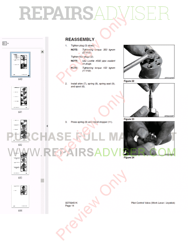 Daewoo Wheel Excavator Solar 210W-V Shop Manual PDF, Manuals for Heavy Equip. by www.repairsadviser.com