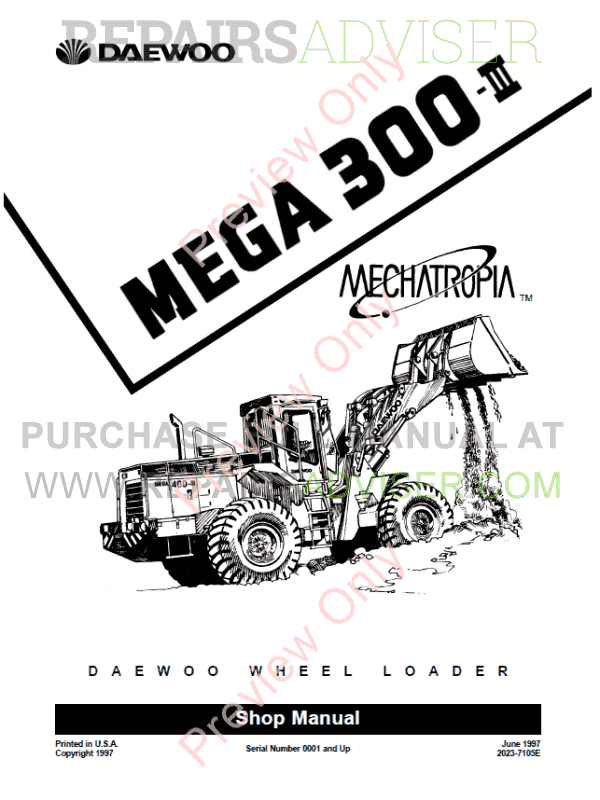 daewoo wheel loader mega 300