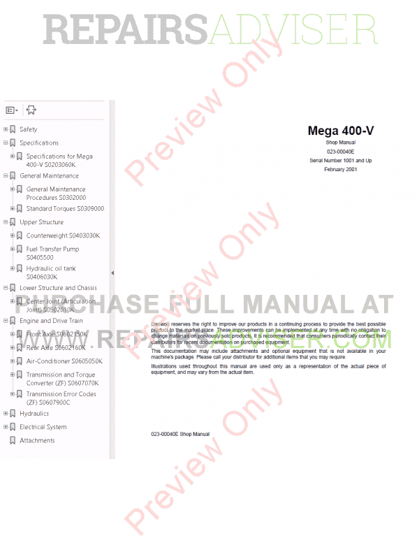 Daewoo Wheel Loader Mega 400-V Set of PDF Manuals, Manuals for Heavy Equip. by www.repairsadviser.com