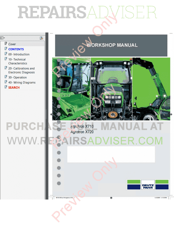 Deutz Fahr Agrotron X710, X720 Tractors Workshop Manual PDF image #1