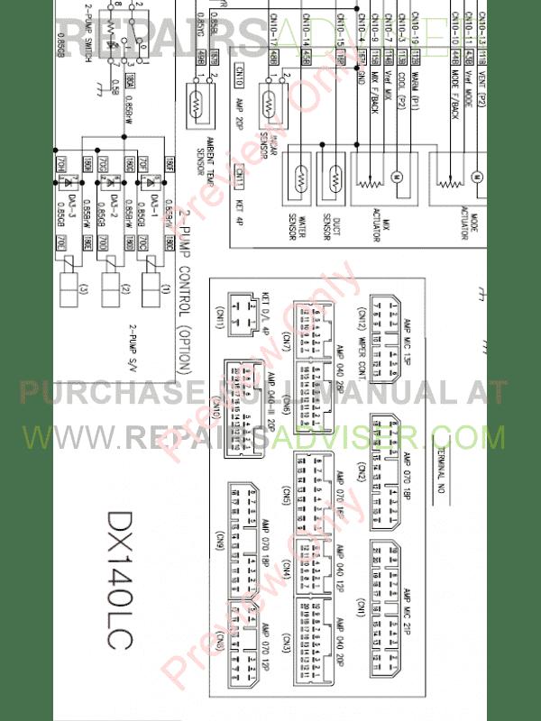 Doosan DX140LC-3 Hydraulic Excavator Schemes Set of PDF Download
