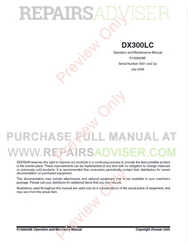 Doosan DX300 LC Track Excavator Set of PDF Manuals image #1