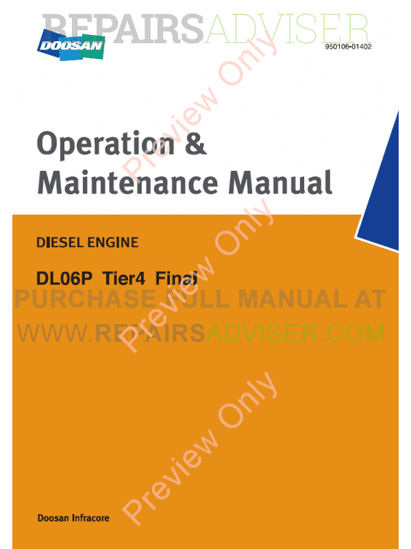 Doosan Diesel Engine DL06P Tier4 Final Operation and Maintenance Manual PDF image #1