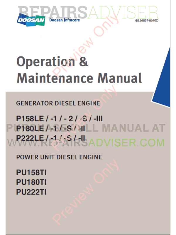 Doosan P158/180/222LE Generator Diesel Engines Operation and Maintenance Manual PDF, Manuals for Heavy Equip. by www.repairsadviser.com