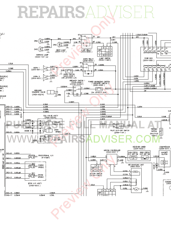 Doosan S130LC-V/3 Excavator Schemes Set of PDF, Manuals for Heavy Equip. by www.repairsadviser.com