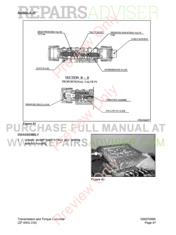 Doosan Transmission and Torque Converter (ZF 4WG-310) PDF Manual, Manuals for Heavy Equip. by www.repairsadviser.com
