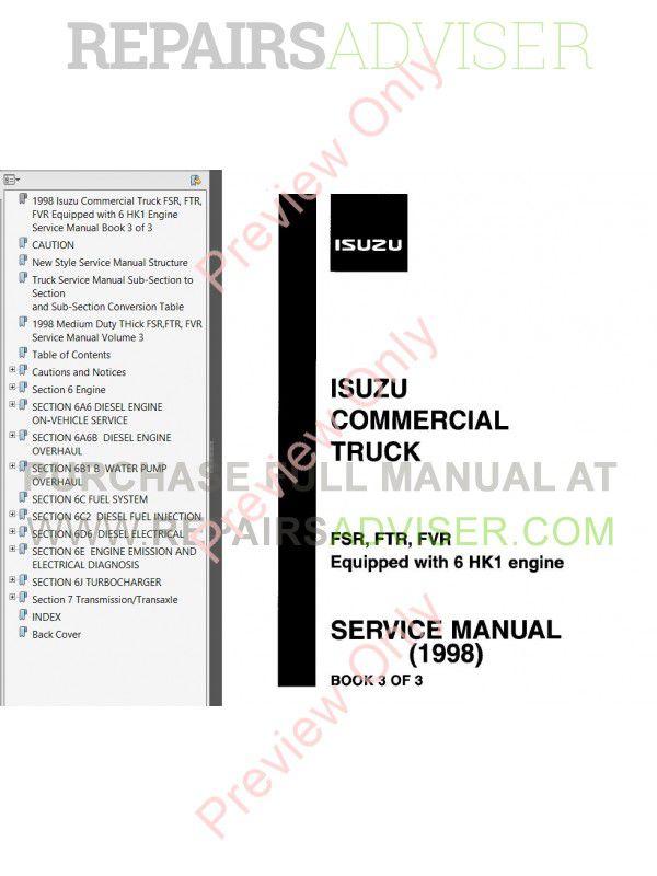 Isuzu Commercial Truck Frr  W5  U0026 Frr  Ftr  Fvr  6hk1  Service