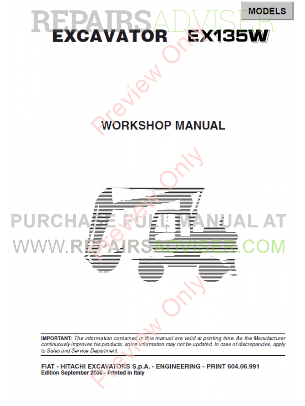 Fiat Hitachi Excavators EX135W Workshop Manual PDF