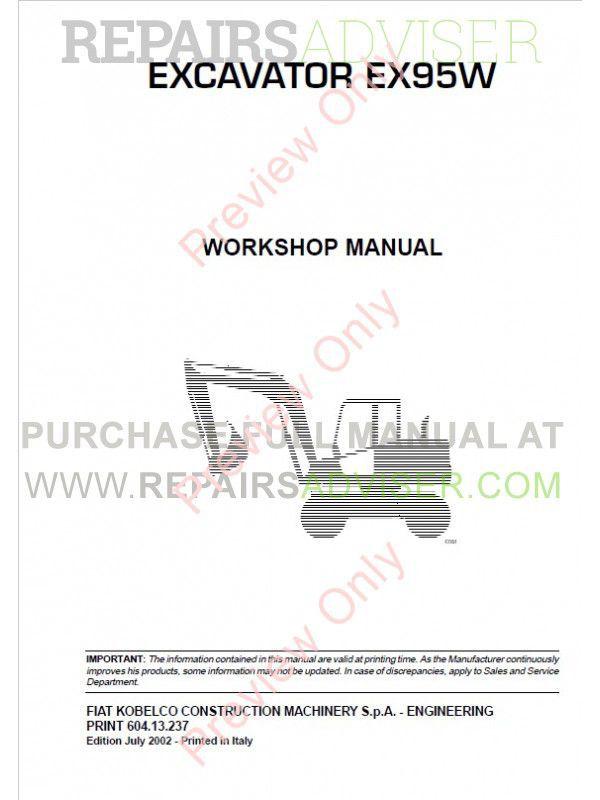 Fiat Kobelco Ex95w Compact Line Excavator Workshop Manual