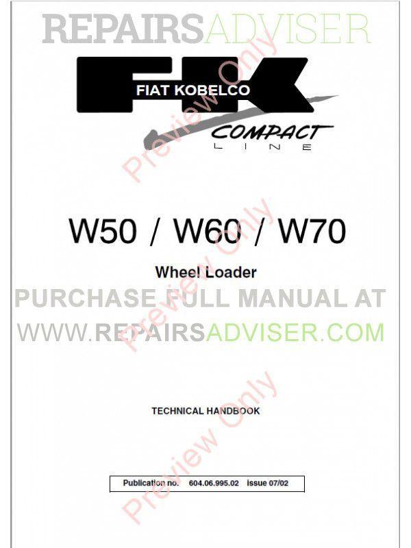 fiat kobelco w50  w60  w70 wheel loader technical handbook