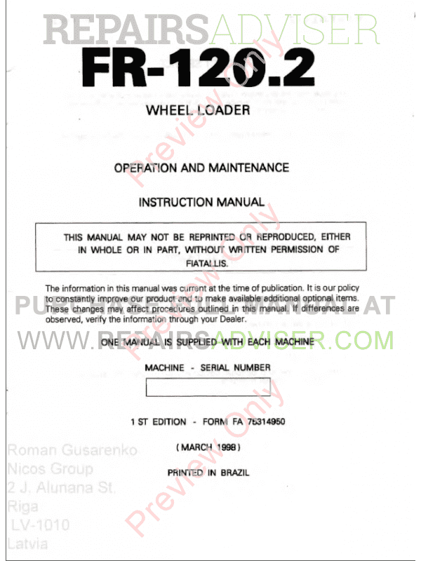FiatAllis FR120.2 Wheel Loader Operation and Maintenance Instruction + Service Manual PDF