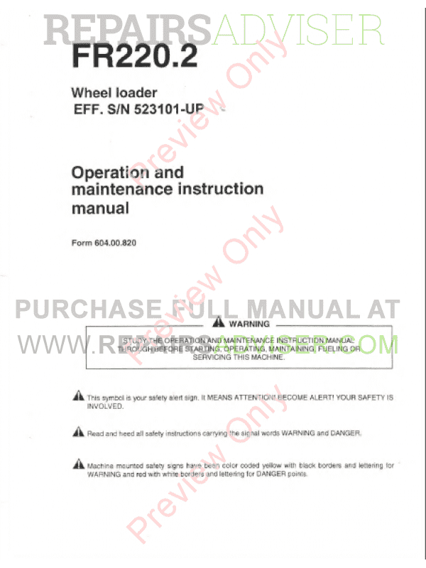 FiatAllis FR220.2 Wheel Loader Operation and Maintenance Instruction + Service Manual PDF