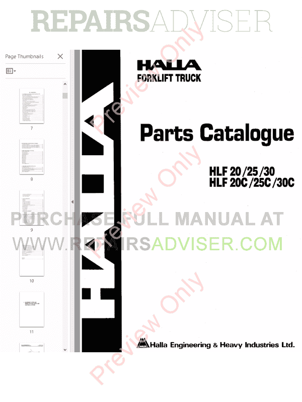 Halla Forklift Manuals on