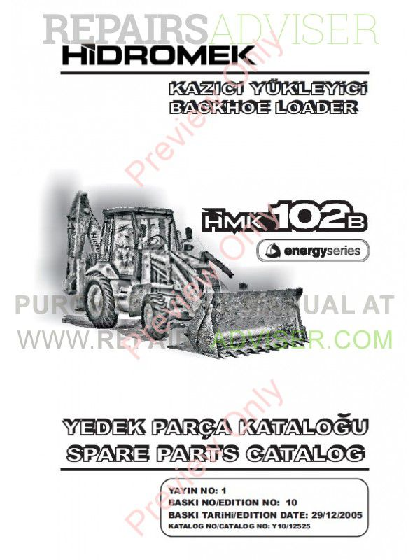 Hidromek HMK 102B, 102S, 200W, 220LC-2 Backhoe Loaders Set of Parts Catalogs PDF image #1