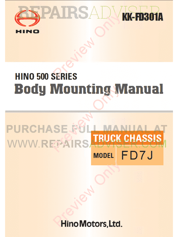 Hino 500 Series Truck Chassis FD7J Body Mounting Manual PDF