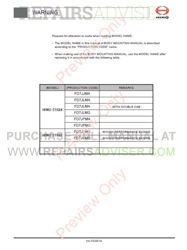 Hino 500 Series Truck Chassis FD7J Body Mounting Manual PDF, Manuals for Trucks by www.repairsadviser.com
