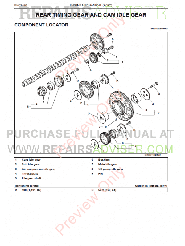 Hino A09C Engine Workshop Manual PDF, Manuals for Cars by www.repairsadviser.com