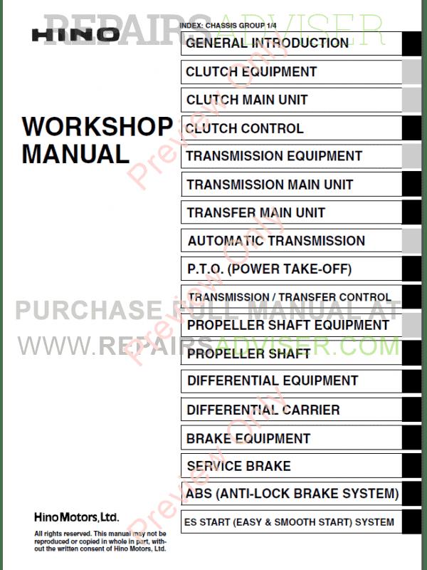 Hino FT1J GT1J Trucks Workshop Manual PDF