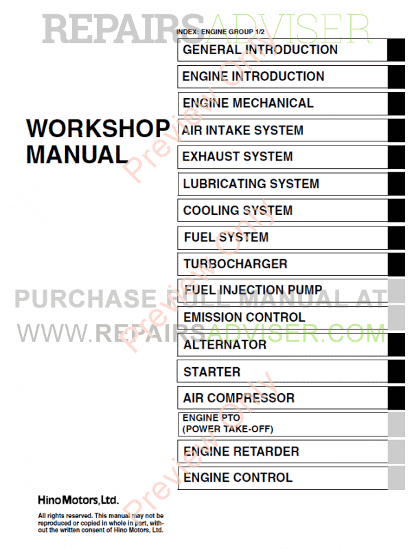 Hino J05C-TI Engine Workshop Manual PDF, Manuals for Cars by www.repairsadviser.com
