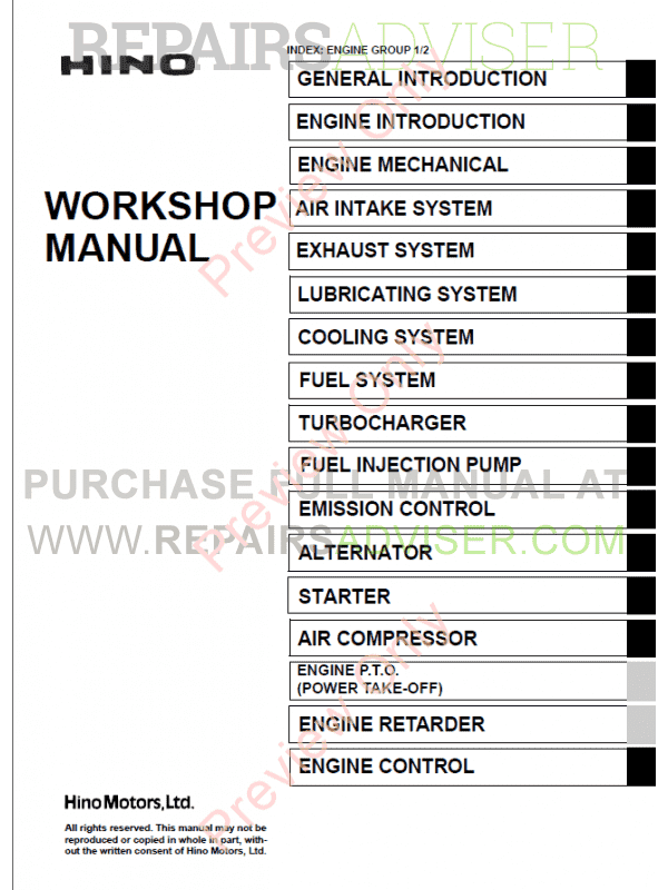 Hino J05D-TI, J05E-TI Engines Workshop Manual PDF image #1