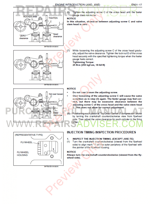 Hino J05D-TI, J05E-TI Engines Workshop Manual PDF Download