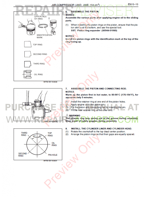 Hino J05D-TI, J05E-TI Engines Workshop Manual PDF, Manuals for Cars by www.repairsadviser.com