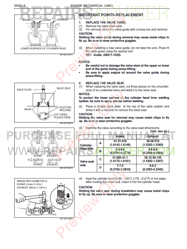 Hino J08C-TI Engine Workshop Manual PDF, Manuals for Cars by www.repairsadviser.com