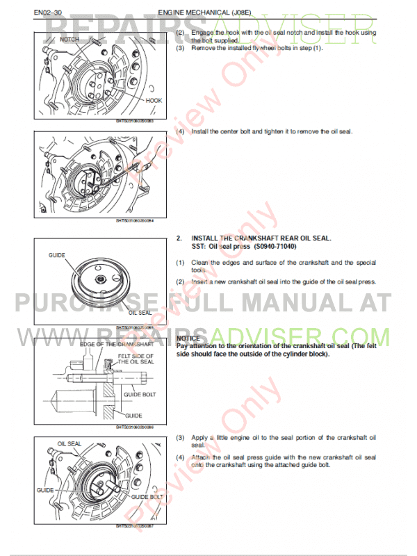 Hino J08E-TI Engine Workshop Manual PDF, Manuals for Cars by www.repairsadviser.com