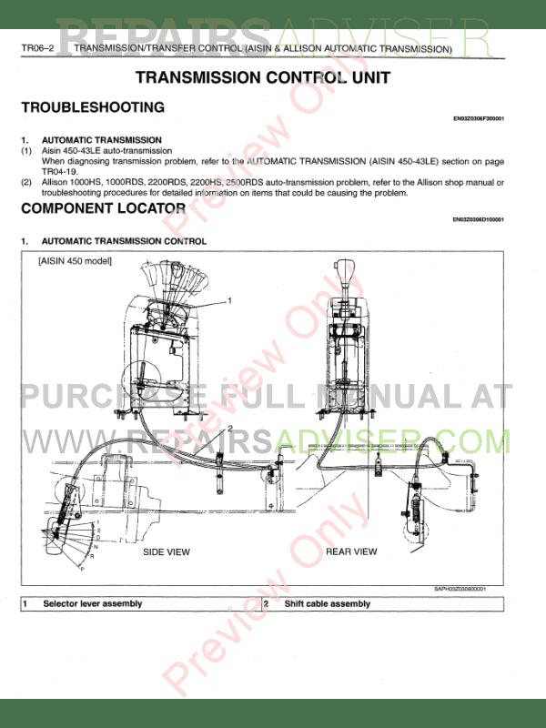 Hino Truck 145-338 engine J05D-TF, J08E-TV/TW Workshop Manual
