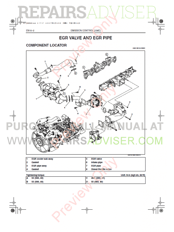 Hino Truck 2005 with J08E-TV, TW Engine Workshop Manual Download