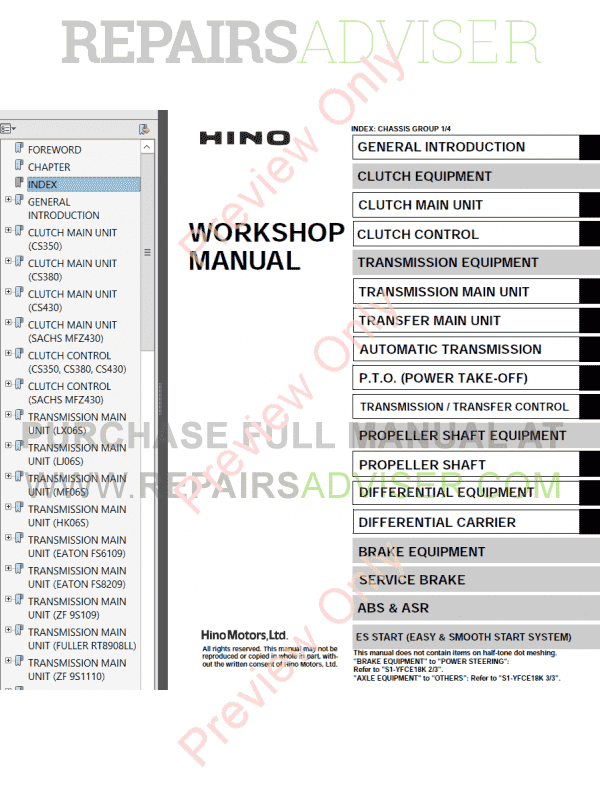 Hino FC6J FC9J FD8J GD8J FG8J GH8J FL8J FM8J FM1A FM2P SG8J FT8J GT8J Series Workshop Manual PDF, Manuals for Cars by www.repairsadviser.com