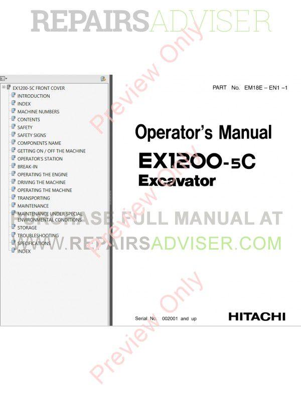 Hitachi EX1200-5, EX1200-5C, EX1900-5 Excavators Set of ...