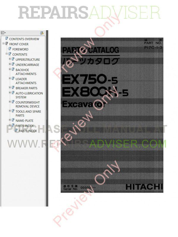 Hitachi EX750-5, EX800H-5 Excavator Set of PDF Manuals image #1