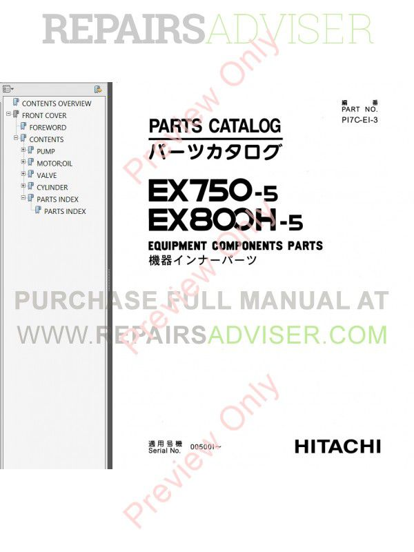 Hitachi EX750-5, EX800H-5 Excavator Set of PDF Manuals, Hitachi Manuals by www.repairsadviser.com