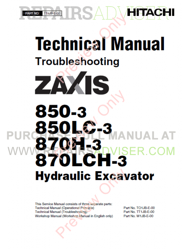 Hitachi Zaxis 850-3, 850LC-3, 870H-3, 870LCH-3 Hydraulic Excavator Technical & Workshop & Operator s Manuals PDF, Hitachi Manuals by www.repairsadviser.com