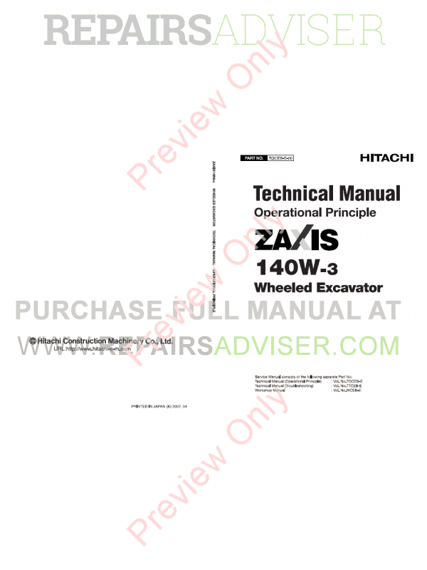 Hitachi Zaxis 140W-3 Wheeled Excavators Set of PDF Manual image #1