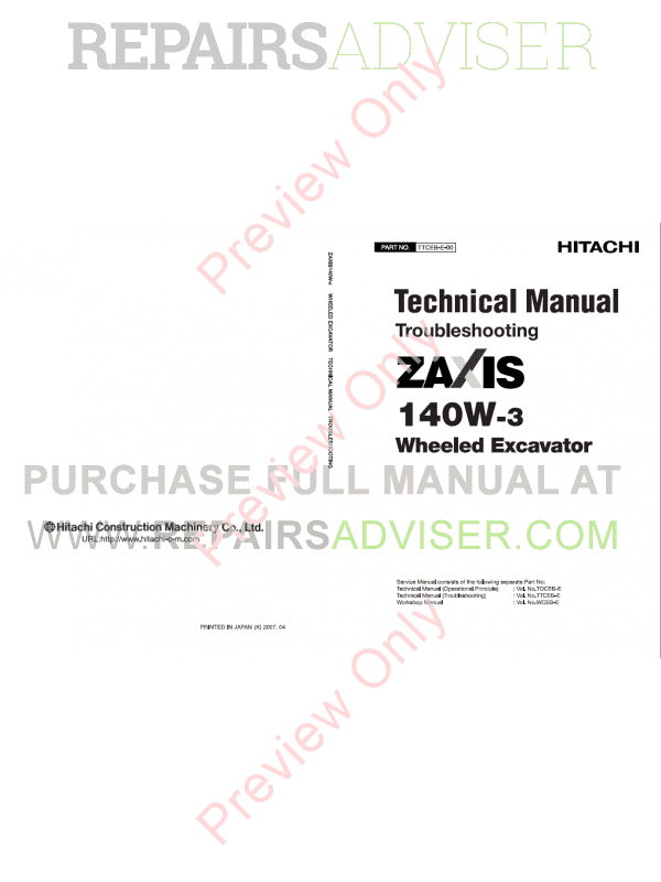 Hitachi Zaxis 140W-3 Wheeled Excavators Set of PDF Manual, Hitachi Manuals by www.repairsadviser.com