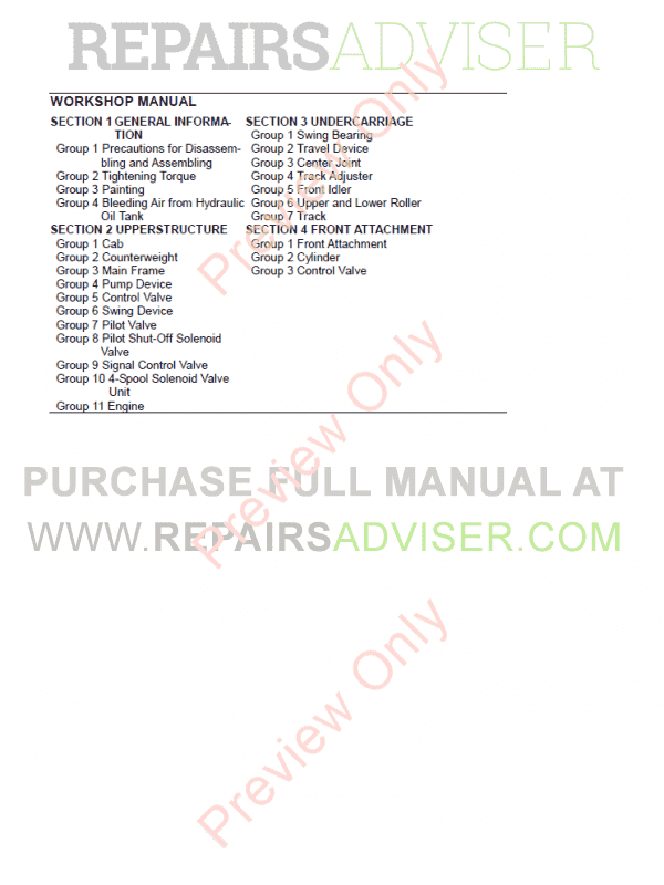 Hitachi Zaxis 160LC-3 180LC-3 180LCN-3 Hydraulic Excavator Technical Manuals PDF, Hitachi Manuals by www.repairsadviser.com