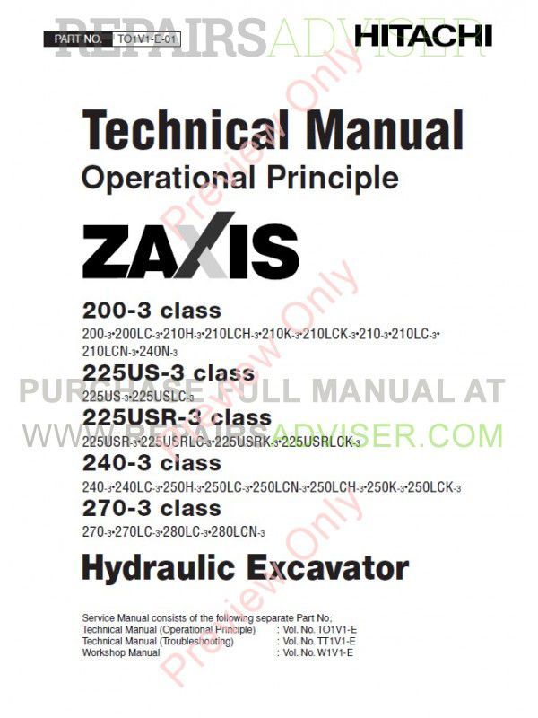Hitachi Zaxis 200-3, 225US-3, 225USR-3, 240-3, 270-3 Class Hydraulic Excavator Technical & Workshop Manuals PDF image #1
