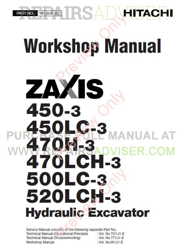 Hitachi Zaxis 450  470  500lc