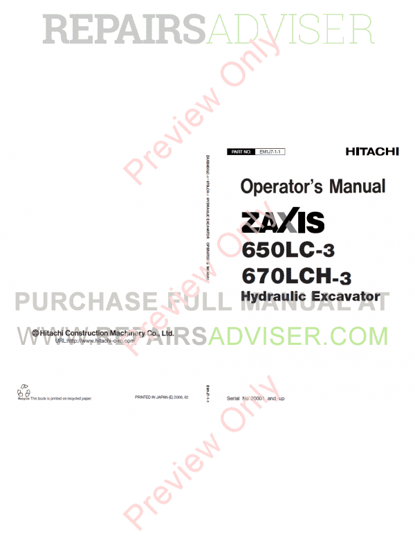 Hitachi Zaxis 650LC-3, 670LCH-3 Hydraulic Excavators Technical + Workshop Manuals PDF image #1